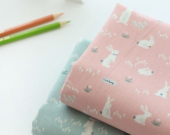 Bunny Cotton Fabric, Rabbit Cotton Fabric - Pink or Mint - By the Yard 90486