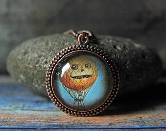 "1"" Round Glass Pendant Necklace or Key Chain - Pumpkin Balloon"