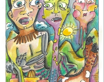 Watercolor exquisite corpse painting, watercolor surrealist painting, abstract painting print