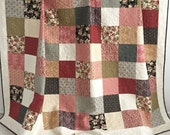 King Patchwork Quilt with Floral Fabrics Shades of Pink Green Black Coral Ivory Bella Collection