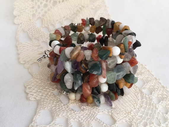Colorful Multi Strand Bracelet, Gemstone Memory Wire Wrap, Beaded Cuff, Eclectic Jewelry,