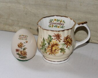 Vintage Elizabethan Staffordshire Fine Bone China England November Mug & Womack's Collectibles USA Egg - Porcelain - Yellow Flowers