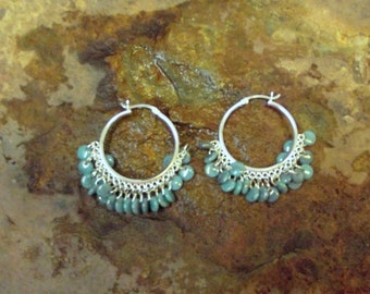 Hoops-Sterling Silver Hoops with Turquoise Glass Pips- Twenty Dangling Pips-Large Sterling Hoops- Lever Closure