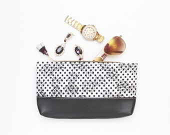 FLERA / Leather make up pouch - handcolored pouch - brush case - gifts for her- black and white pouch -pencil case - Ready to Ship