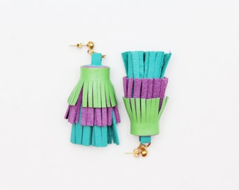 PINEAPPLE 31 / Layered leather statement tassel earrings in blue shades - Ready to ship
