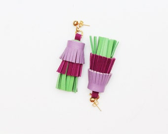 PINEAPPLE 33 / Layered leather statement tassel earrings in blue shades - Ready to ship