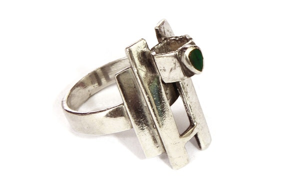 sterling malachite ring 925 silver green by bobocollected