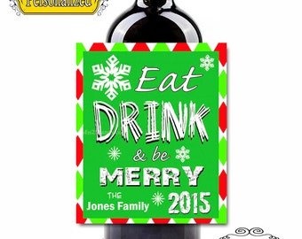 Custom Wine Labels - Christmas Labels  (Personalized) Chalkboard Set of 6 Digital File
