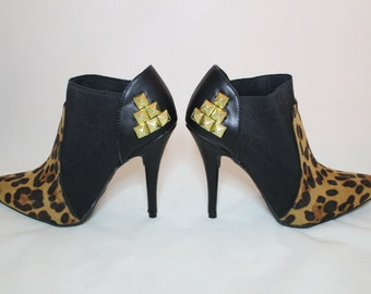 Studded Leopard Print Booties 7.5