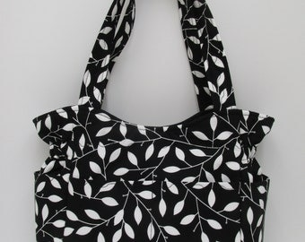 Black White Adult Bag, Black Purse White Leaves, Many Inside Pockets, Quilted Cotton Purse,Tote Bag, Diaper Bag, Fabric Purse, Quilted Tote