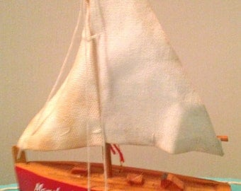 Sweet Vintage Wooden Toy Boat, Red Off White Sail, Miniature Wood Sail Boat- Display- Home Decor-Creative Play