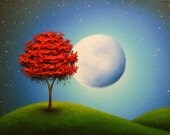 Original Oil Painting, Full Moon Wall Decor, Red Tree Painting Nursery Art, Blue Night Textured Canvas Art, Moon Landscape Painting, 12x16