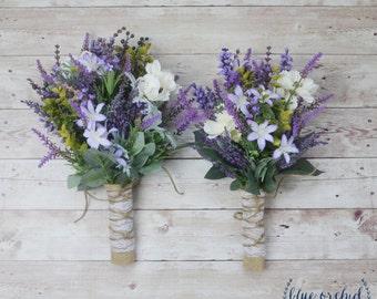 Wildflower Bridesmaid Bouquet - Lavender Bouquet, Purple Bouquet, Fall Bouquet, Boho Bouquet, Rustic Bouquet, Bridesmaid Bouquets, Wedding