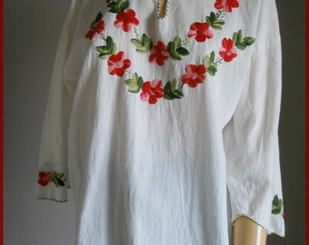 Vintage Embroidered Cotton Gauze Ethnic Hippie Top Blouse