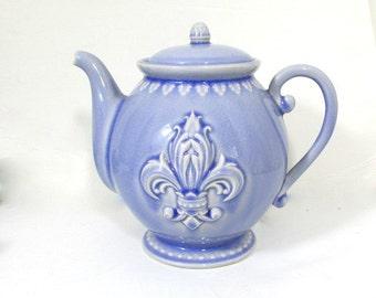 Vintage Blue Fleur de Lis Ceramic Teapot