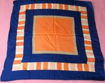 "Vintage Blue Orange Tan Peach Graphic Silk Scarf  25"" x 26"""