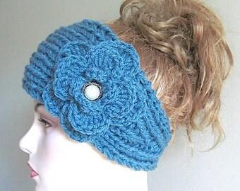 SALE Flower Headbands Ear warmers Turban Aqua Turquoise Teal Jeweled Crochet Chunky Knit Fall Winter Accessories Womens Girls Knit Headwraps