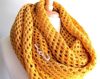 Mustard Gold Lace Oversize Knitted Scarf Extra Long Open Stitch Wrap Neckwarmer Scarves Crystal Pin Women Accessories Fall Winter Spring