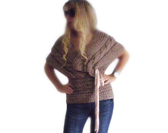 Sweater / shrug  ,  Cable knitting , unique , French beige sweater,handmade knitted sweater shrug light and soft