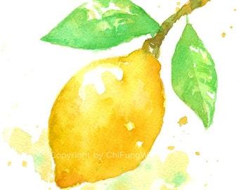 Fruit, fruit print, giclee art, watercolor, watercolor giclee, watercolor art print, Yellow Lemon, watercolor giclee print