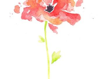 Flower, flower print, art, giclee fine art print, flower art print, Watercolor, abstract, red, Poppy, Original watercolor, watercolor print