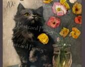 Vintage Magazine Illustration Cat, Precious Kitty, Instant Digital Download