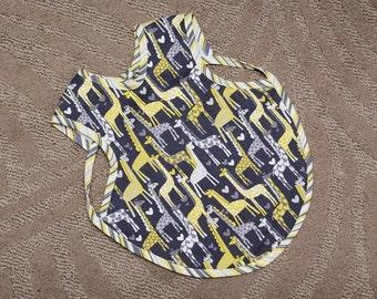 Gender Neutral Bib - Toddler Bib - Boy or Girl Bib - Art Smock - Giraffe Bib - Daycare Bib - Children's Apron - Reversible Bib - Smock
