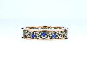 Filigree ring, blue sapphire wedding, white gold ring, rose gold ring, sapphire ring, blue engagement, wedding band, filigree wedding