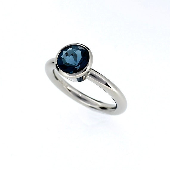 London blue topaz ring, White gold, engagement ring, Bezel, Solitaire, Blue engagement, custom, london blue, simple, teal topaz