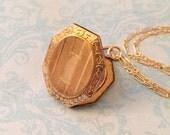 Vintage Locket, Art Deco Floral Border and Stripes, No Monogram, Gold Filled, Christmas Gift for Her