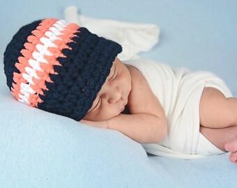 Newborn Baby Boy Hat Newborn Hat Navy Blue Baby Hat Tangerine Photo Prop Baby Boy Clothes Baby Shower Gift Baby Boy Cap Photography Prop