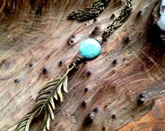 Brass Feather Necklace with Turquoise, Bone and Shell