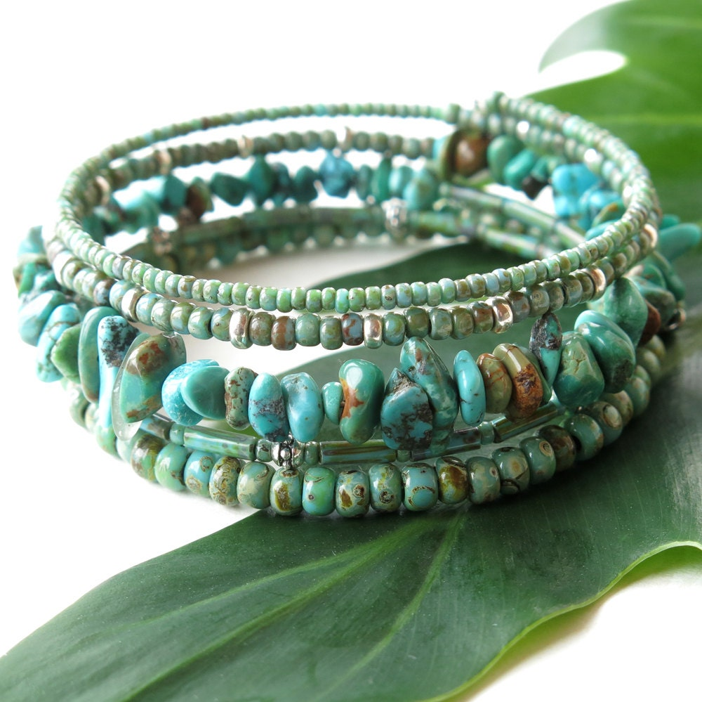Stacked beaded bracelets Turquoise stone Picasso seed beads