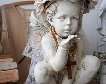Distressed cherub statue handmade crown white vanilla roses shabby cottage chic angelic figure embellished home decor anita spero design
