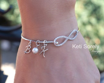 Infinity Bangle with Initials - Personalized Infinity Bracelet with Pearl - Sterling Silver or Yellow Gold - His and her Bracelet