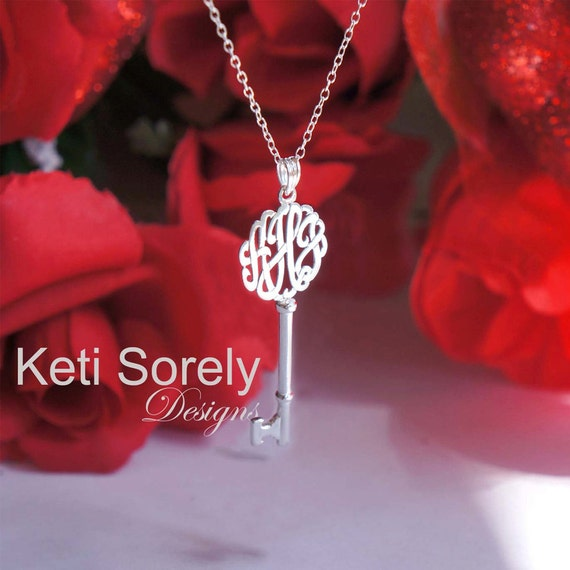 Key Pendant With Monogrammed Initials (Order Any Initials) - Sterling Silver, Yellow Gold, Rose Gold or White Gold