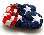 patriotic baby shoes stars and stripes booties for baby 4th of july baby clothing red white and blue baby star struck tula baby blue stars