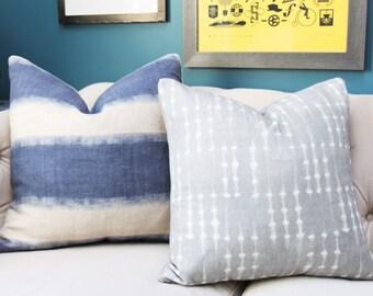 Blue Pillow Cover - Modern Indigo Blue - Blue Organic Pillow Cover - Motif Pillows -Blue and Ivory Stripe - Dark Blue Decor