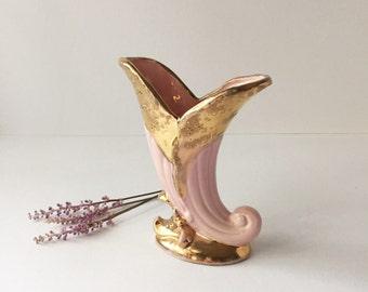 Vintage Weeping Gold Cornucopia Ceramic Vase, American Art Pottery Vase, Pink and Gold Horn of Plenty Vase