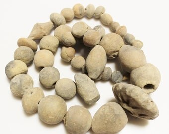 Unusual Old African Clay Beads, Tribal Beads, Ethnic Jewelry Supplies (AC96)