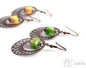Origami jewelry - Aki, origami earrings. Hand folded paper beads