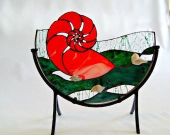 Nautilus Stained Glass Art Mixed Media Ocean Art Seashell Nautical Home Decor Naval Art Tabletop Sculpture