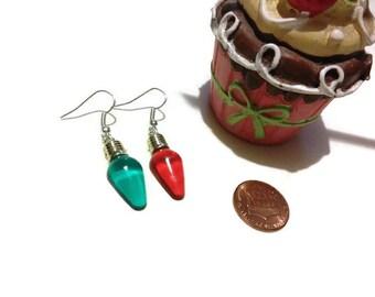 Light Bulb Earrings, Christmas earrings, stocking stuffers, holiday jewelry, gag gifts, christmas party earrings, christmas lights, gifts