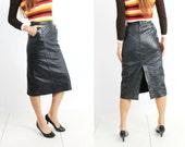 Vintage Black Leather High Waisted Midi Skirt