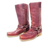 Vintage Brown Leather Motorcycle Boots Size 37