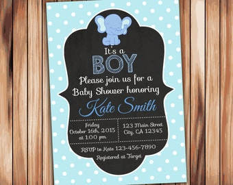 Elephant Baby Shower Boy Invitation -Digital Printable Chalkboard Invitation - Blue Babyshower -Personalized Printable Baby Shower (002)
