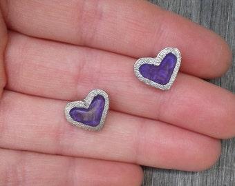 BALANCE * heart purple resin earrings