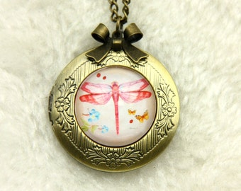 Necklace locket red dragonfly