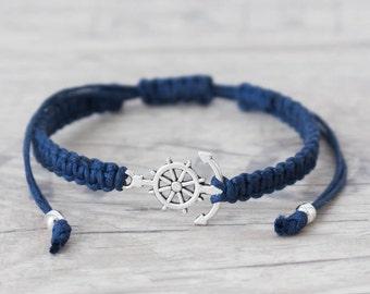 Anchor bracelet Nautical bracelet Matching couple bracelets Macrame bracelet Friendship bracelet Macrame jewelry Best friend bracelet