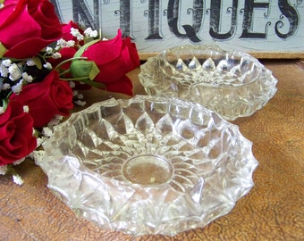 Two Vintage Pressed Glass, Cut Glass, Ash Trays, Candy Dishes, Decorative Trays - tithriftstore. etsy